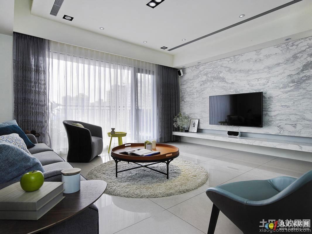 简约家装设计效果图客厅大理石电视墙