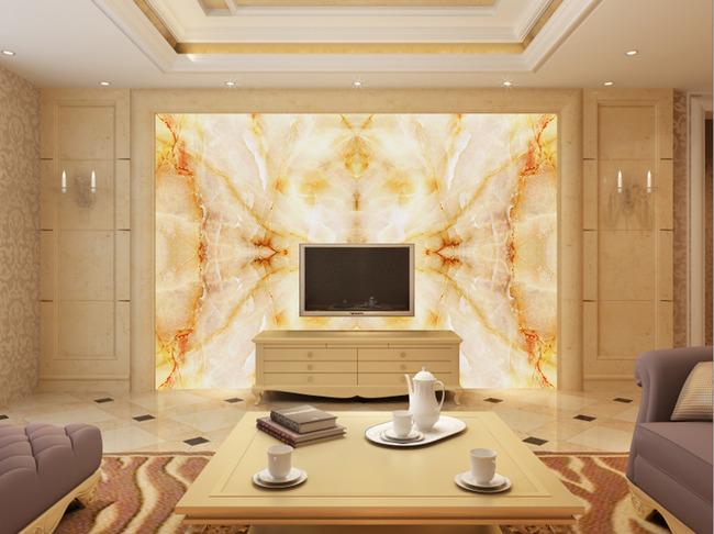 欧式家装设计客厅大理石电视背景墙