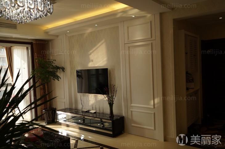 简欧客厅隐形门电视背景墙室内家装图片
