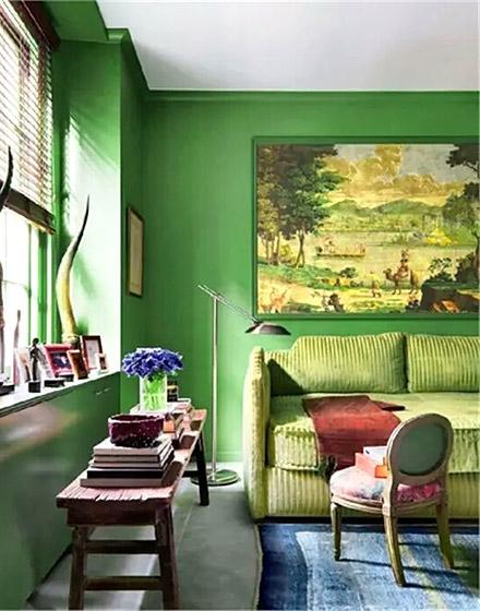 11个绿色客厅装修效果图 用绿色美赢春天