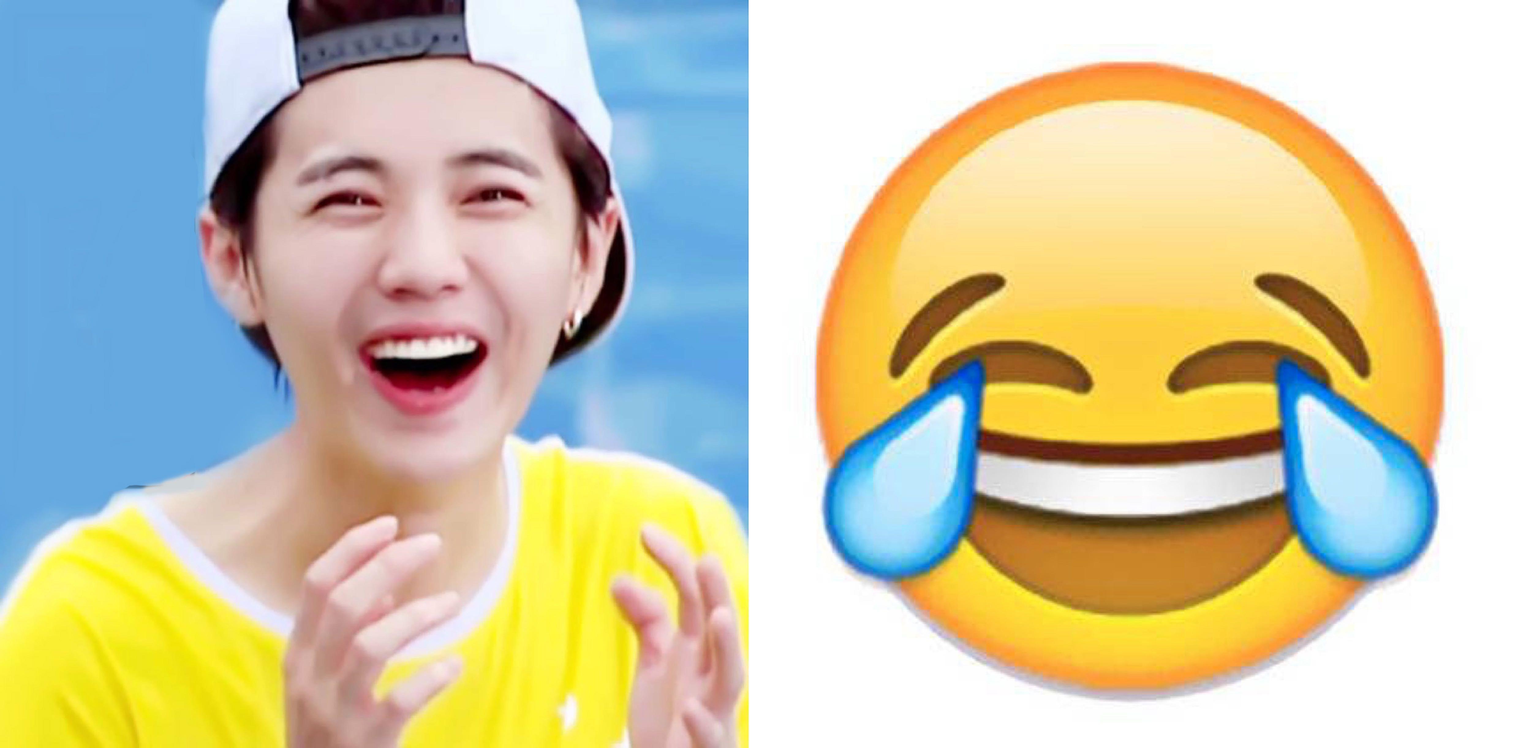 鹿晗与emoji笑哭表情神同步图片