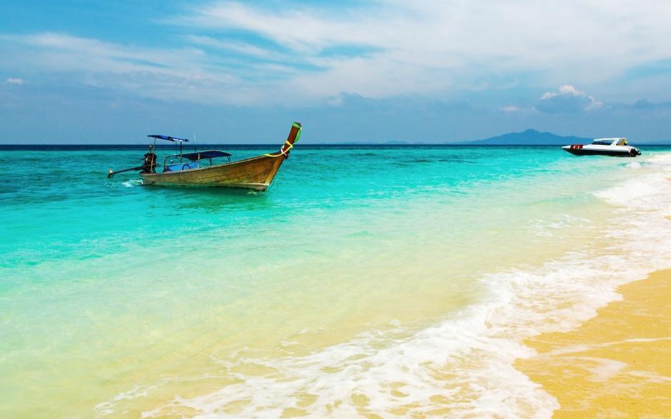 清新优美的沙滩风光海边风景图片