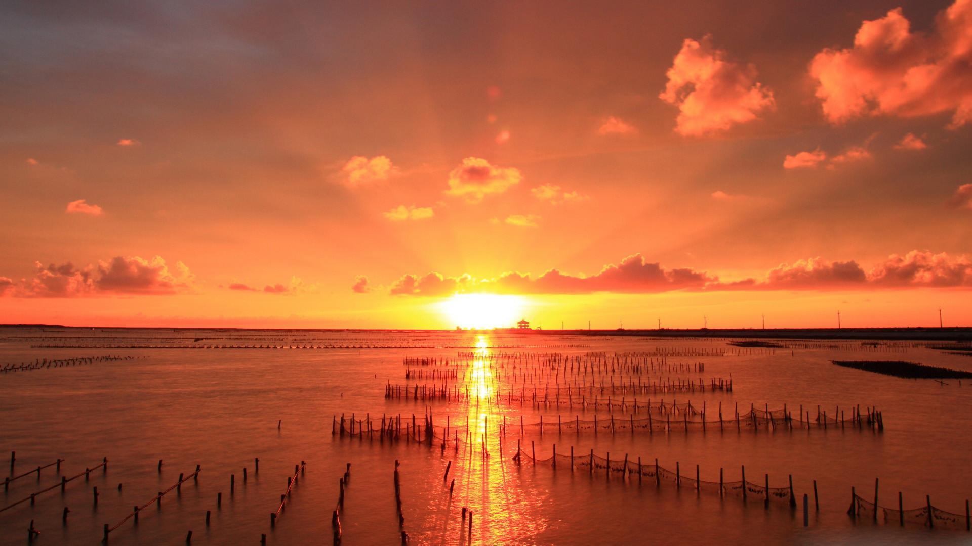 夕阳黄昏美景唯美高清桌面壁纸