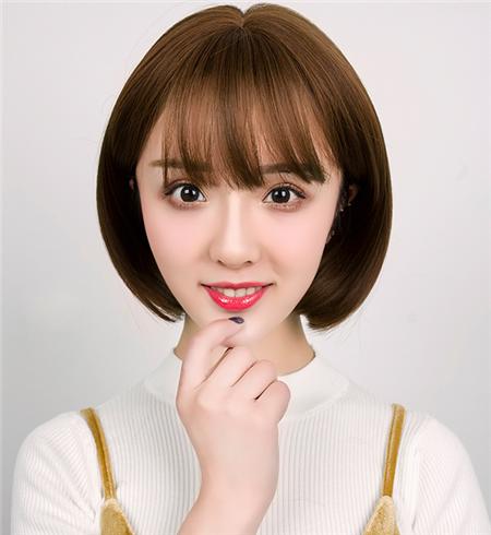 韩版内扣波波头发型图片