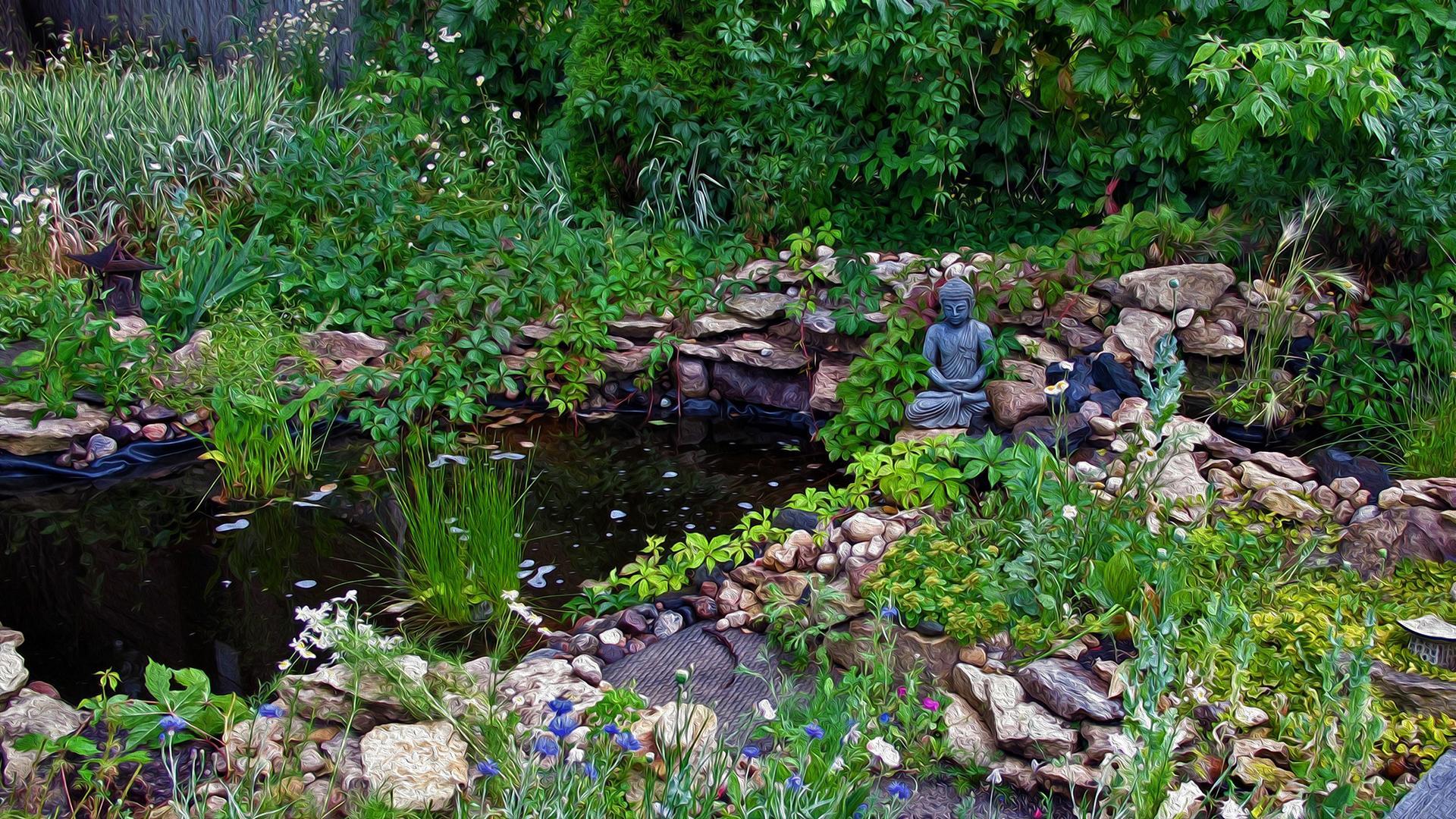 禅意花园风景图片高清宽屏桌面壁纸