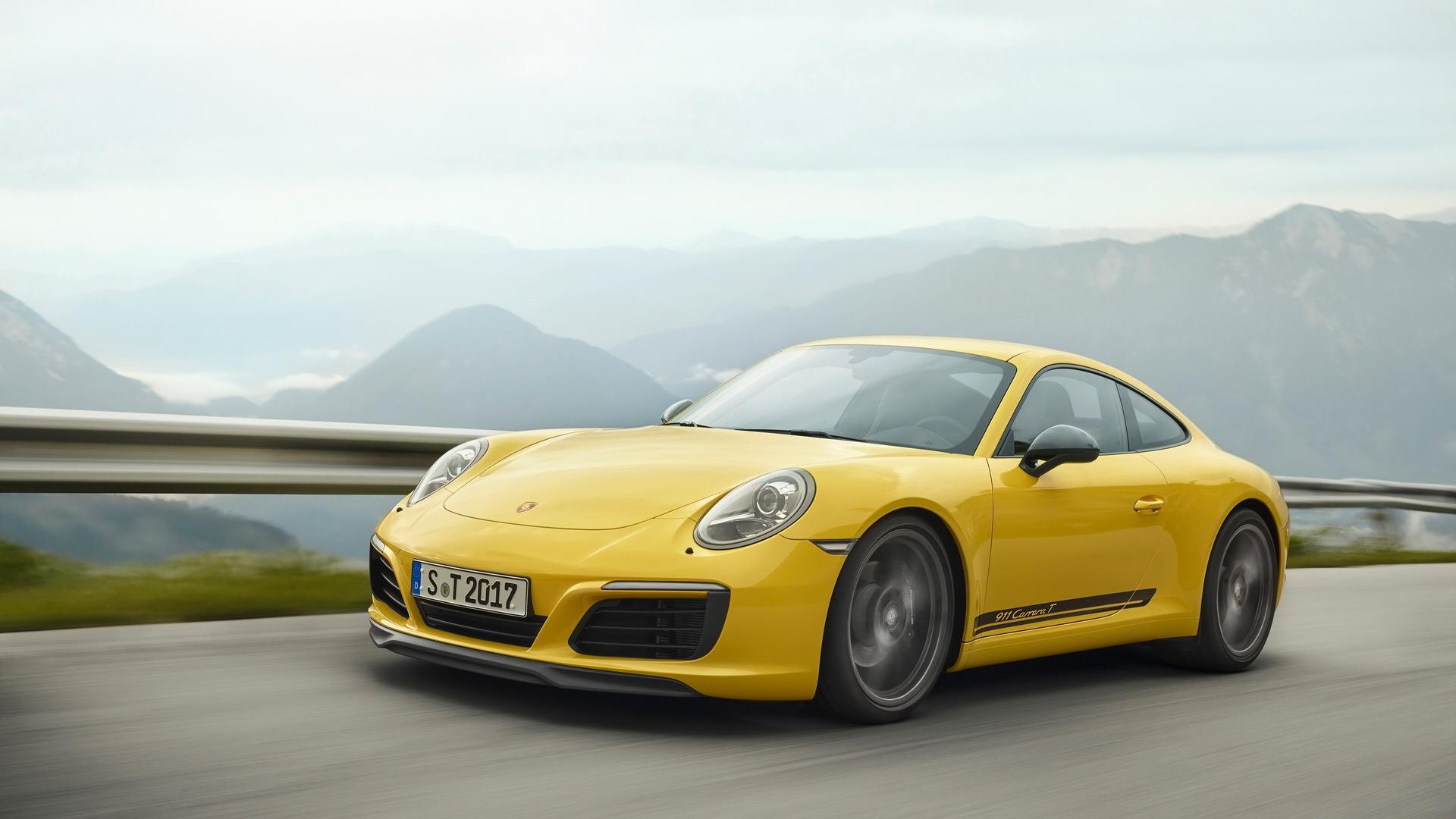 保时捷911黄色跑车高清汽车图片桌面壁纸