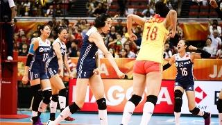 女排世锦赛中国3-2逆转美国 全队激情庆祝