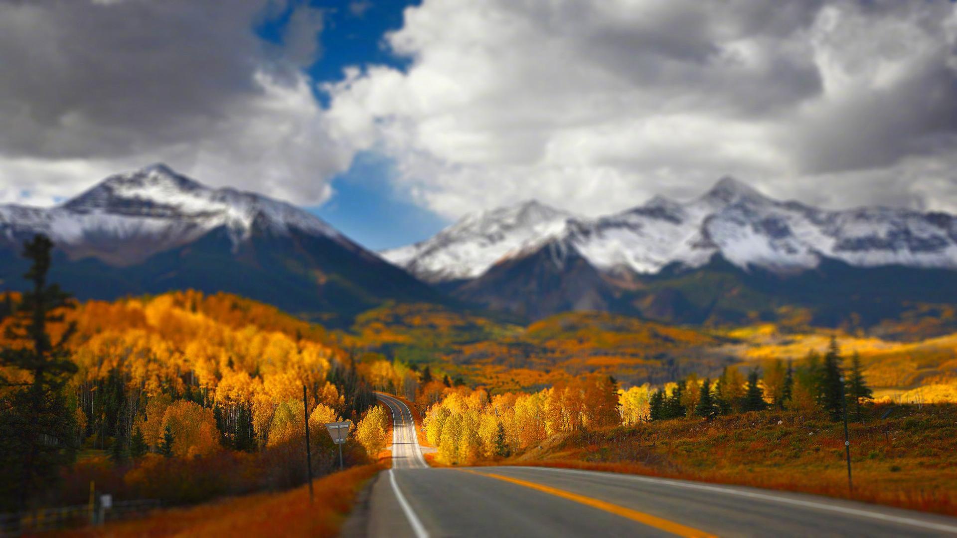 唯美意境道路风景图片桌面壁纸