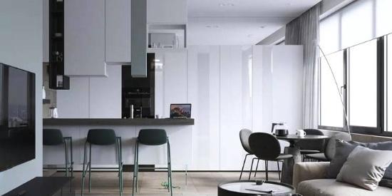 100㎡ 三室一厅,厨房、客厅这样设计太走心了