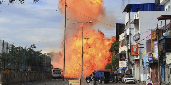 斯里兰卡第9起爆炸现场