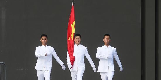 南京江东门纪念馆举行升旗仪式 纪念全民族抗战爆发82周年