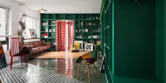 120平米混搭风格客厅吧台装修效果图