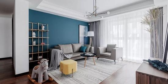114㎡现代混搭3室2厅,一抹微蓝的清新质感