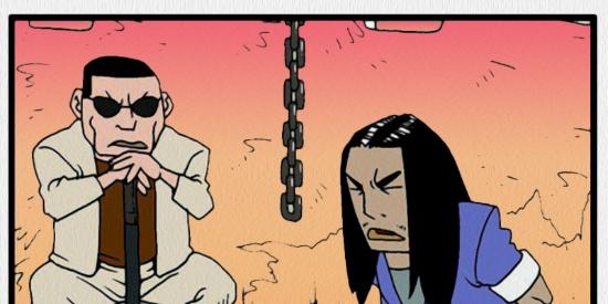 搞笑漫画:戴着假发的小混混