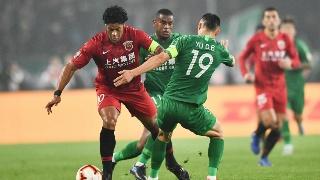 中超第26轮上港客场2:0国安,上港升至联赛