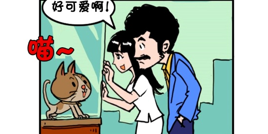 恶搞漫画:喜欢小猫咪的女朋友